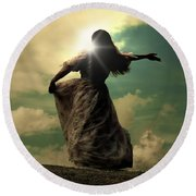Woman On A Meadow Round Beach Towel