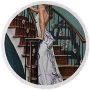 Woman On A Staircase 3 Round Beach Towel