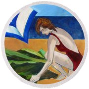 Woman On The Beach Round Beach Towel