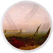Woman On The Beach Of Rugen  Round Beach Towel