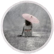 Woman On The Street Round Beach Towel