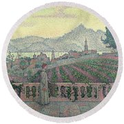 Woman On The Terrace Round Beach Towel
