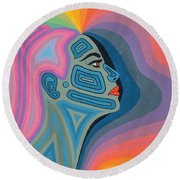 Woman Round Beach Towel