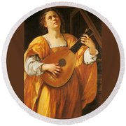 Woman Playing A Lute Round Beach Towel