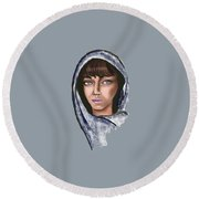 Woman Portrait Round Beach Towel