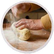 Woman Preparing Dough For Kopytka Round Beach Towel