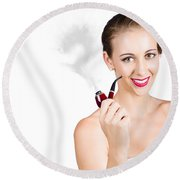 Woman Problem Solving With Pipe Round Beach Towel