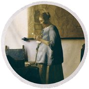 Woman Reading A Letter Round Beach Towel