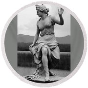 Woman Sculpture Nc Round Beach Towel