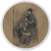 Woman Sewing, With A Girl The Hague, March 1883 Vincent Van Gogh 1853 - 1890 Round Beach Towel