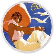 Woman Sitting On A Cruising Ship Round Beach Towel