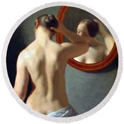 Woman Standing In Front Of A Mirror 1841 Round Beach Towel