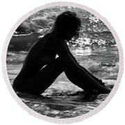 Woman  Round Beach Towel