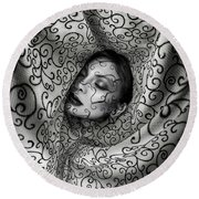 Woman Surrounded By Cloth Of Paisley Prints Round Beach Towel