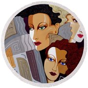 Woman Times Three Round Beach Towel by Tara Hutton