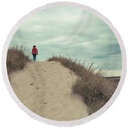 Woman Walking In The Dunes Of Cape Cod Round Beach Towel