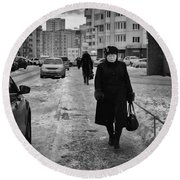 Woman Walking On Path In Russia Round Beach Towel