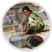 Woman Washing Clothes In Khajuraho Village Round Beach Towel