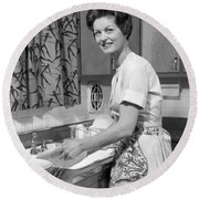 Woman Washing Dishes, C.1960s Round Beach Towel
