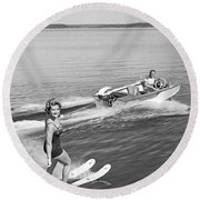 Woman Water Skiing Round Beach Towel
