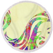 Woman Watercolor Series Ix Round Beach Towel