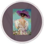 Woman Wearing A Purple Hat Round Beach Towel