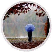Woman With A Blue Umbrella Round Beach Towel