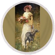 Woman With A Dog Round Beach Towel