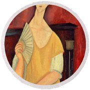 Woman With A Fan Round Beach Towel by Amedeo Modigliani
