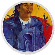 Woman With A Flower 1891 Round Beach Towel