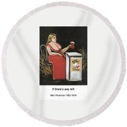 Woman With A Mug Of Beer Round Beach Towel