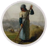 Woman With A Rake Round Beach Towel