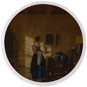 Woman With A Water Pitcher And A Man By A Bed The Maidservant Round Beach Towel