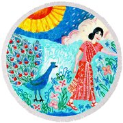Woman With Apple And Peacock Round Beach Towel by Sushila Burgess