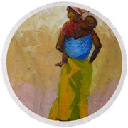 Woman With Baby Round Beach Towel
