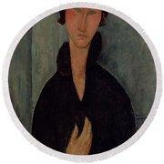 Woman With Blue Eyes Round Beach Towel by Amedeo Modigliani