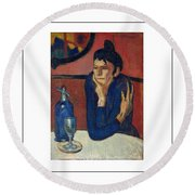 Woman With Coffee Femme Au Cafe Round Beach Towel