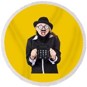 Woman With Electronic Calculator Round Beach Towel