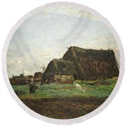 Woman With Goat Round Beach Towel