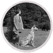 Woman With Great Dane, C.1920-30s Round Beach Towel