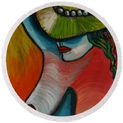 Woman With Hat Round Beach Towel