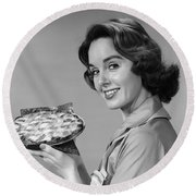 Woman With Pie, C.1950-60s Round Beach Towel
