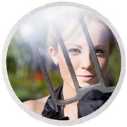 Woman With Pitchfork Round Beach Towel