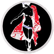 Woman With Red Cape - And Not Much Else Round Beach Towel