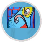Woman13 Round Beach Towel