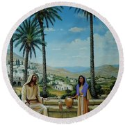 Women At The Well Round Beach Towel