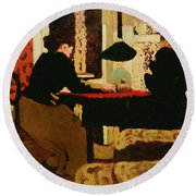 Women By Lamplight Round Beach Towel