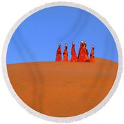 Women Carrying Water In The Thar Desert - Rajasthan, India. Round Beach Towel