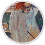Women Combing Their Hair - Two Women Dressing Nightshirts Round Beach Towel cb3f1d3b5