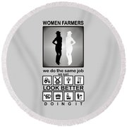 Women Farmers Round Beach Towel